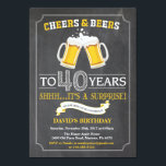 """Cheers and Beers 40th Birthday Invitation Card<br><div class=""""desc"""">Cheers and Beers 40th Birthday Invitation Card with chalkboard background. For further customization,  please click the """"Customize it"""" button and use our design tool to modify this template.</div>"""