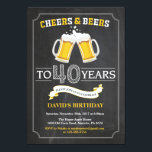 "Cheers and Beers 40th Birthday Invitation Card<br><div class=""desc"">Cheers and Beers 40th Birthday Invitation Card with chalkboard background. 16th 18th 21st 30th 40th 50th 60th 70th 80th 90th 100th. Any Age. For further customization,  please click the ""Customize it"" button and use our design tool to modify this template.</div>"
