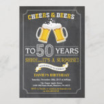 """Cheers and Beers 50th Birthday Invitation Card<br><div class=""""desc"""">Cheers and Beers 50th Birthday Invitation Card with chalkboard background. For further customization,  please click the """"Customize it"""" button and use our design tool to modify this template.</div>"""