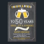 "Cheers and Beers 50th Birthday Invitation Card<br><div class=""desc"">Cheers and Beers 50th Birthday Invitation Card with chalkboard background. For further customization,  please click the ""Customize it"" button and use our design tool to modify this template.</div>"