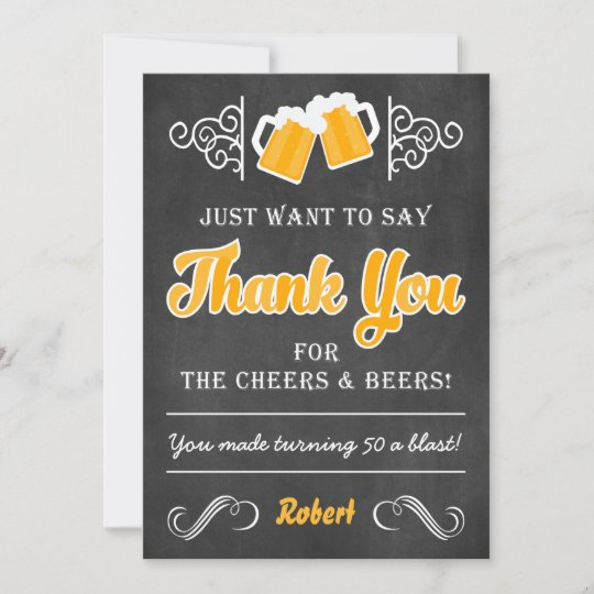 Cheers And Beers 50th Birthday Thank You Card