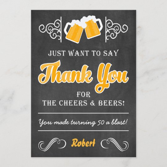 Cheers And Beers 50th Birthday Thank You Card Zazzle