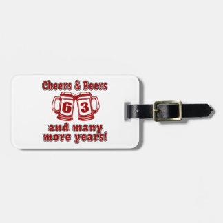 Cheers And Beers 63 Birthday Designs Bag Tag