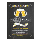Cheers and Beers 80th Birthday Invitation Card