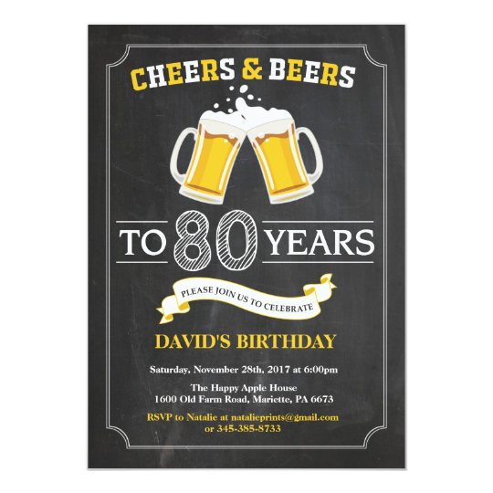 Cheers and Beers 80th Birthday Invitation Card – 80th Birthday Invitation Cards