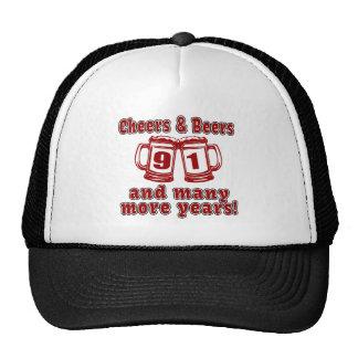 Cheers And Beers 91 Birthday Designs Trucker Hat