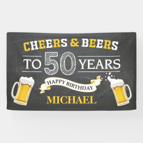 Cheers and Beers Happy 50th Birthday Banner