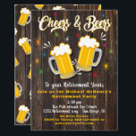 "Cheers and Beers Retirement Party Invitation<br><div class=""desc"">Awesome Cheers and Beers Retirement party invitations on a rustic dark wood plank background. Great retro hip vibe.