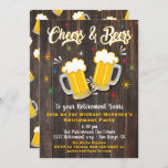 """Cheers and Beers Retirement Party Invitation<br><div class=""""desc"""">Awesome Cheers and Beers Retirement party invitations on a rustic dark wood plank background. Great retro hip vibe. Need help with the layout,  just email me at tkatz@me.com Great for any milestone birthday,  30th,  40th,  50th,  60th,  70th,  80th or more!  Change to any age Hand drawn illustration by McBooboos</div>"""