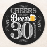 "Cheers and Beers to 30 Years Drink Coasters<br><div class=""desc"">Cheers and Beers Birthday Party Theme  ● Clipart by www.FreePik.com ● &#169; Puggy Prints. All rights reserved.</div>"