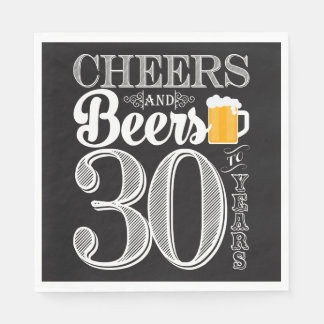 Cheers and Beers to 30 Years Luncheon Napkins