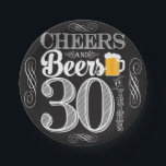"Cheers and Beers to 30 Years Paper Plates 7&quot;<br><div class=""desc"">Cheers and Beers Birthday Party Theme  ● Clipart by www.FreePik.com ● &#169; Puggy Prints. All rights reserved.</div>"