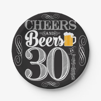 Cheers and Beers to 30 Years Paper Plates 7""