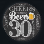 "Cheers and Beers to 30 Years Paper Plates 9&quot;<br><div class=""desc"">Cheers and Beers Birthday Party Theme  ● Clipart by www.FreePik.com ● &#169; Puggy Prints. All rights reserved.</div>"