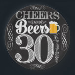 """Cheers and Beers to 30 Years Paper Plates 9&quot;<br><div class=""""desc"""">Cheers and Beers Birthday Party Theme  ● Clipart by www.FreePik.com ● &#169; Puggy Prints. All rights reserved.</div>"""