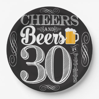 Cheers and Beers to 30 Years Paper Plates 9""
