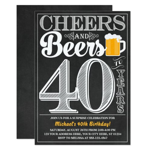 Cheers and Beers to 40 Years Birthday Invitation
