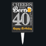 "Cheers and Beers to 40 Years Cakepick<br><div class=""desc"">Cheers and Beers Birthday Party Theme  ● Clipart by www.FreePik.com ● &#169; Puggy Prints. All rights reserved.</div>"