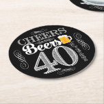 """Cheers and Beers to 40 Years Drink Coasters<br><div class=""""desc"""">Cheers and Beers Birthday Party Theme  ● Clipart by www.FreePik.com ● &#169; Puggy Prints. All rights reserved.</div>"""