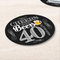 Cheers and Beers to 40 Years Drink Coasters