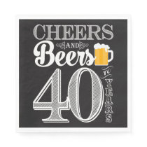 Cheers and Beers to 40 Years Luncheon Napkins