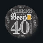 "Cheers and Beers to 40 Years Paper Plates 7&quot;<br><div class=""desc"">Cheers and Beers Birthday Party Theme  ● Clipart by www.FreePik.com ● &#169; Puggy Prints. All rights reserved.</div>"