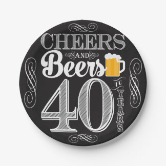 Cheers and Beers to 40 Years Paper Plates 7""