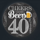 "Cheers and Beers to 40 Years Paper Plates 9&quot;<br><div class=""desc"">Cheers and Beers Birthday Party Theme  ● Clipart by www.FreePik.com ● &#169; Puggy Prints. All rights reserved.</div>"