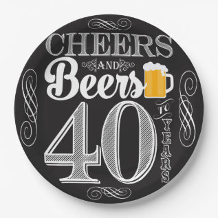 Cheers And Beers To 40 Years Paper Plates 9