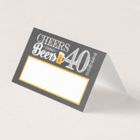 Cheers and Beers to 40 Years Place Card