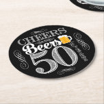 "Cheers and Beers to 50 Years Drink Coasters<br><div class=""desc"">Cheers and Beers Birthday Party Theme  ● Clipart by www.FreePik.com ● &#169; Puggy Prints. All rights reserved.</div>"