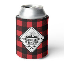 Cheers and Beers to 50 Years | Red Buffalo Plaid Can Cooler