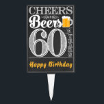 """Cheers and Beers to 60 Years Cakepick<br><div class=""""desc"""">Cheers and Beers Birthday Party Theme  ● Clipart by www.FreePik.com ● &#169; Puggy Prints. All rights reserved.</div>"""