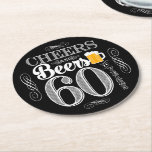 """Cheers and Beers to 60 Years Drink Coasters<br><div class=""""desc"""">Cheers and Beers Birthday Party Theme  ● Clipart by www.FreePik.com ● &#169; Puggy Prints. All rights reserved.</div>"""