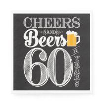 Cheers and Beers to 60 Years Luncheon Napkins