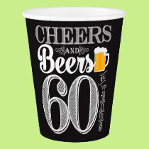 Cheers and Beers to 60 Years Paper Cup, 9 oz Paper Cup