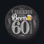 """Cheers and Beers to 60 Years Paper Plates 7&quot;<br><div class=""""desc"""">Cheers and Beers Birthday Party Theme  ● Clipart by www.FreePik.com ● &#169; Puggy Prints. All rights reserved.</div>"""