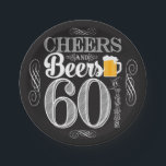 "Cheers and Beers to 60 Years Paper Plates 7&quot;<br><div class=""desc"">Cheers and Beers Birthday Party Theme  ● Clipart by www.FreePik.com ● &#169; Puggy Prints. All rights reserved.</div>"