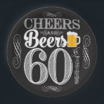 """Cheers and Beers to 60 Years Paper Plates 9&quot;<br><div class=""""desc"""">Cheers and Beers Birthday Party Theme  ● Clipart by www.FreePik.com ● &#169; Puggy Prints. All rights reserved.</div>"""