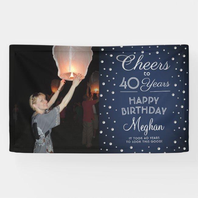 Cheers Any Year Birthday 1 Photo Navy White Silver Banner