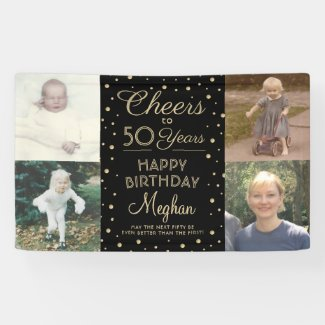 Cheers Any Year Birthday 4 Photo Black Gold 50th Banner