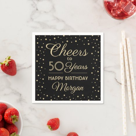Cheers Any Year Birthday Confetti Black Gold 50th Napkins