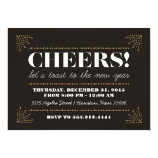 Cheers! Art Deco Fancy New Years Eve Party Card