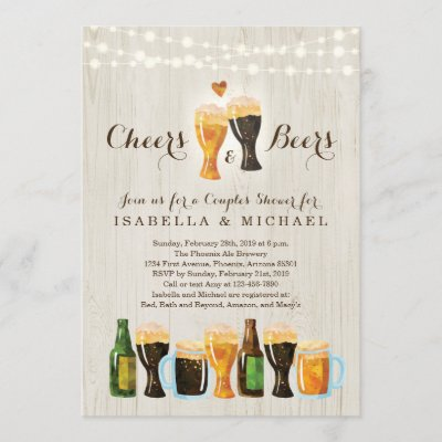 Cheers & Beer Couple's Shower / Rehearsal Dinner Invitation