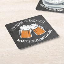 Cheers Beers Birthday Coaster Mats Chalk Beer
