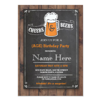 Cheers & Beers Birthday Party 21st 30th Invitation
