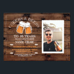 """Cheers & Beers Birthday Wood Party Photo Invite<br><div class=""""desc"""">Rustic Wood Photo cheers and beers birthday party invite design. Perfect for any age birthday party. SIMPLY CHANGE THE TEXT TO SUIT YOUR PARTY. Back print included</div>"""