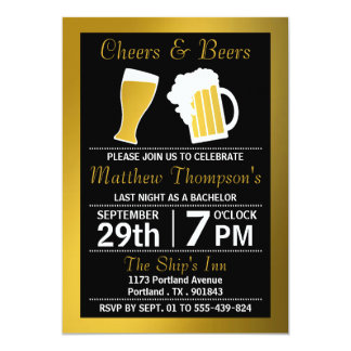 Cheers & Beers Black & Gold Bachelor Party 5x7 Paper Invitation Card