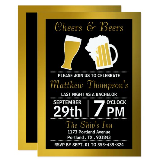 Cheers Beers Black Gold Bachelor Party Invitation Zazzlecom