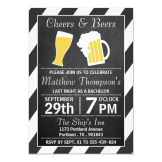 Cheers & Beers Chalkboard Bachelor Party 5x7 Paper Invitation Card
